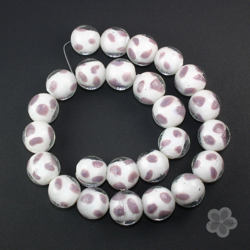 White with Purple Accent Glass Lampwork Beads - Click Image to Close