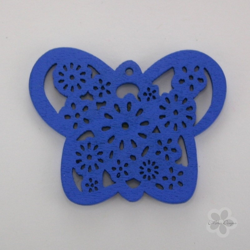 Wooden Butterfly Pendant - Blue - Click Image to Close