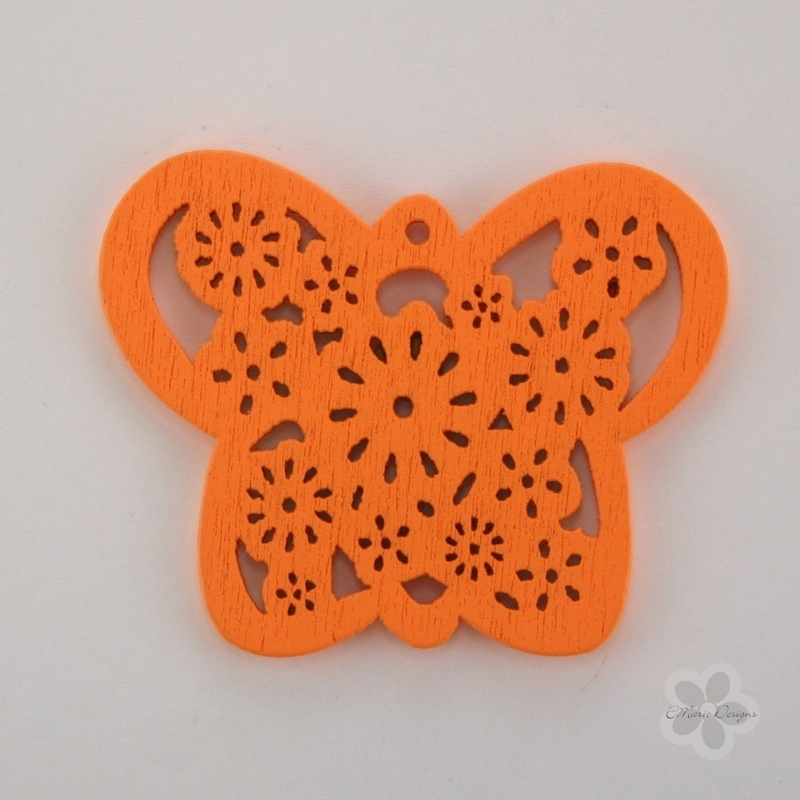 Wooden Butterfly Pendant - Orange - Click Image to Close