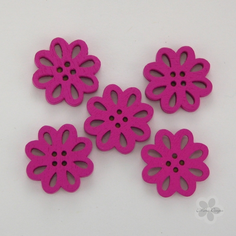 Wooden Flower Button/Bead - Dark Pink - Click Image to Close