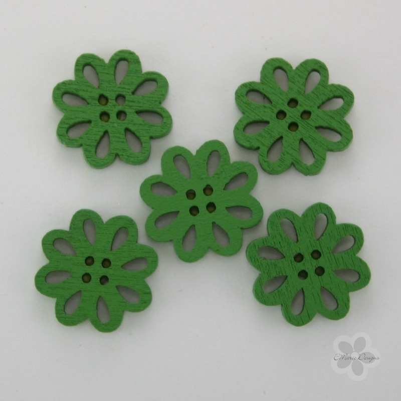 Wooden Flower Button/Bead - Green - Click Image to Close
