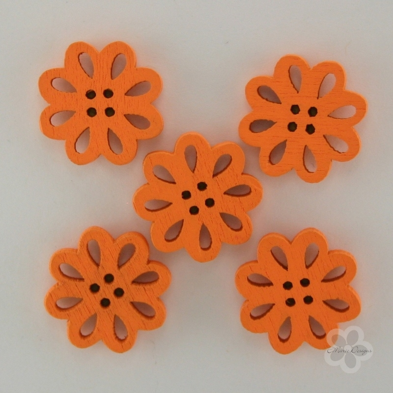 Wooden Flower Button/Bead - Orange - Click Image to Close