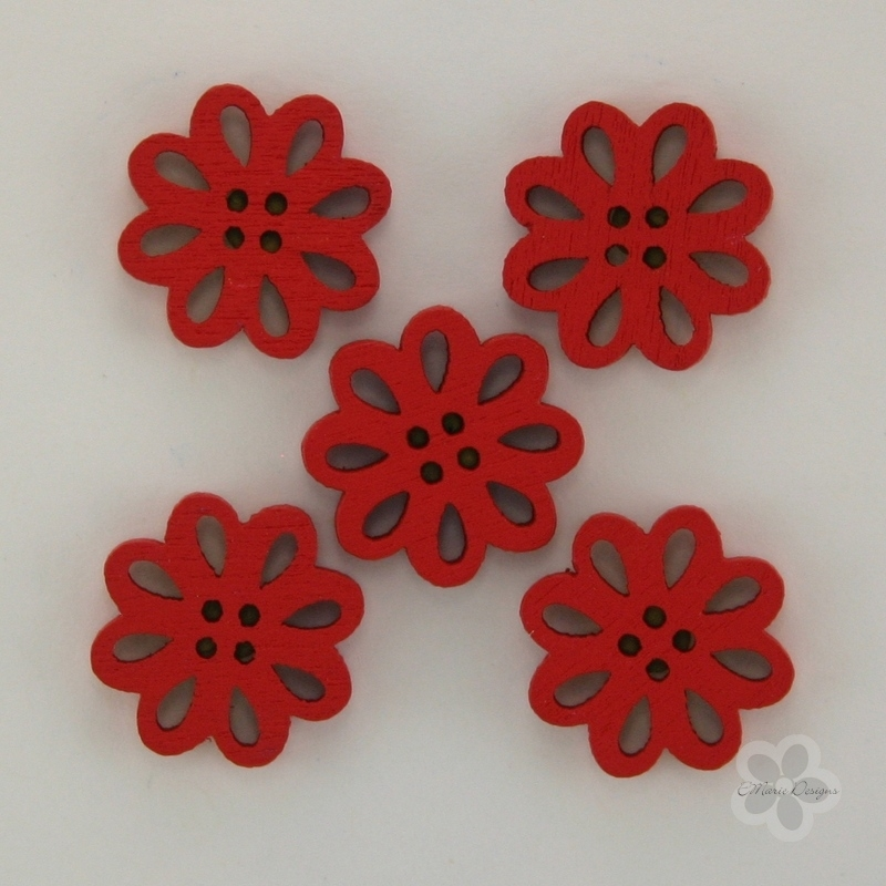 Wooden Flower Button/Bead - Red - Click Image to Close