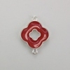 Enameled Flower Connector/Charm - Red