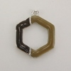 Enameled Hexagon Connector/Charm - Brown