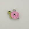 Enameled Snail Charm - Pink