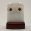 Hot Pink Wood with White Mother of Pearl Earrings