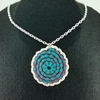 Pink, Teal and Light Pink Crochet Spiral Pendant