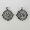 Steampunk Antique Silver Metal Compass Pendant
