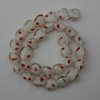 White with Red Accent Glass Lampwork Heart Beads