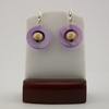 White Wood with Purple Mother of Pearl Earrings
