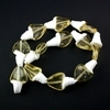 White and Translucent Yellow Twist Glass Lampwork Beads