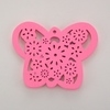 Wooden Butterfly Pendant - Pink